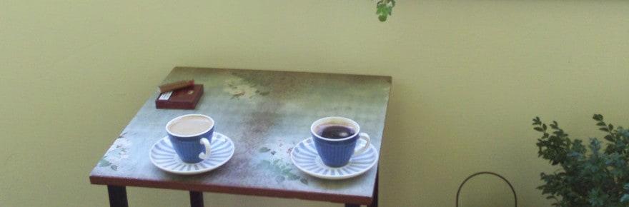Tisch gestalten, Decoupage, Papier, Balkon